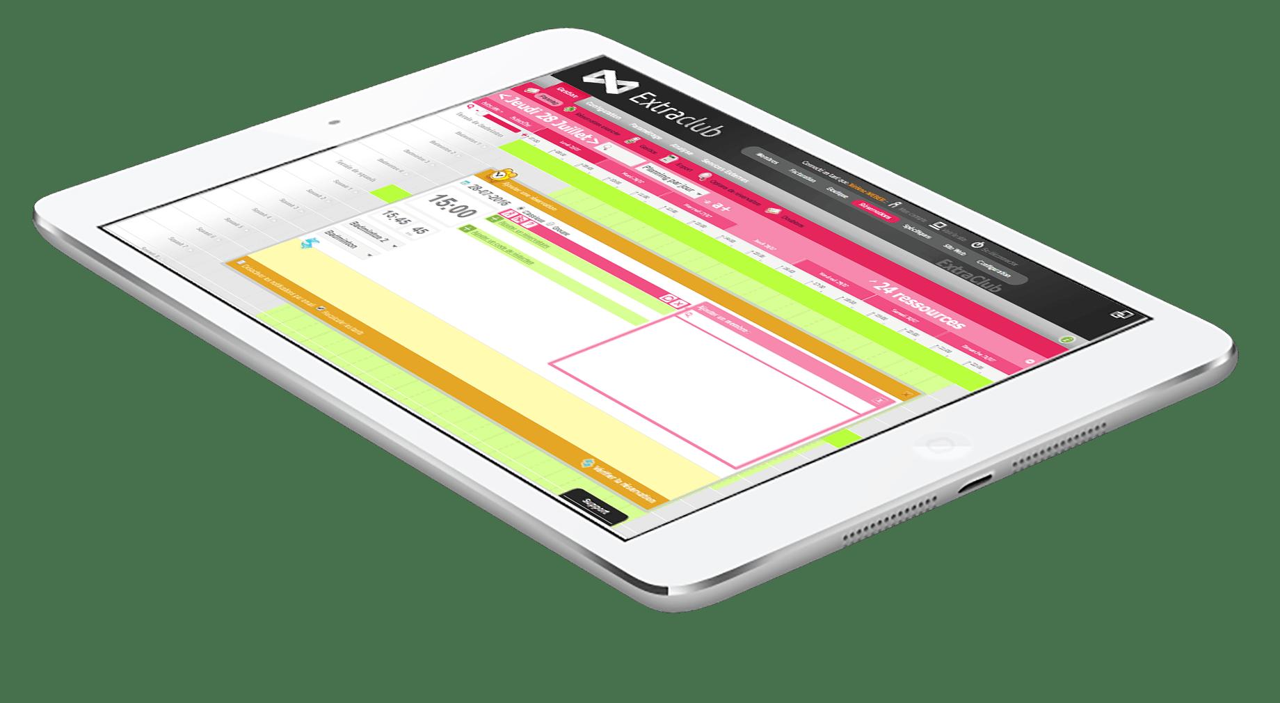 Découvrir ExtraClub le logiciel de gestion de club de sport du groupe StadLine - Planning de réservation