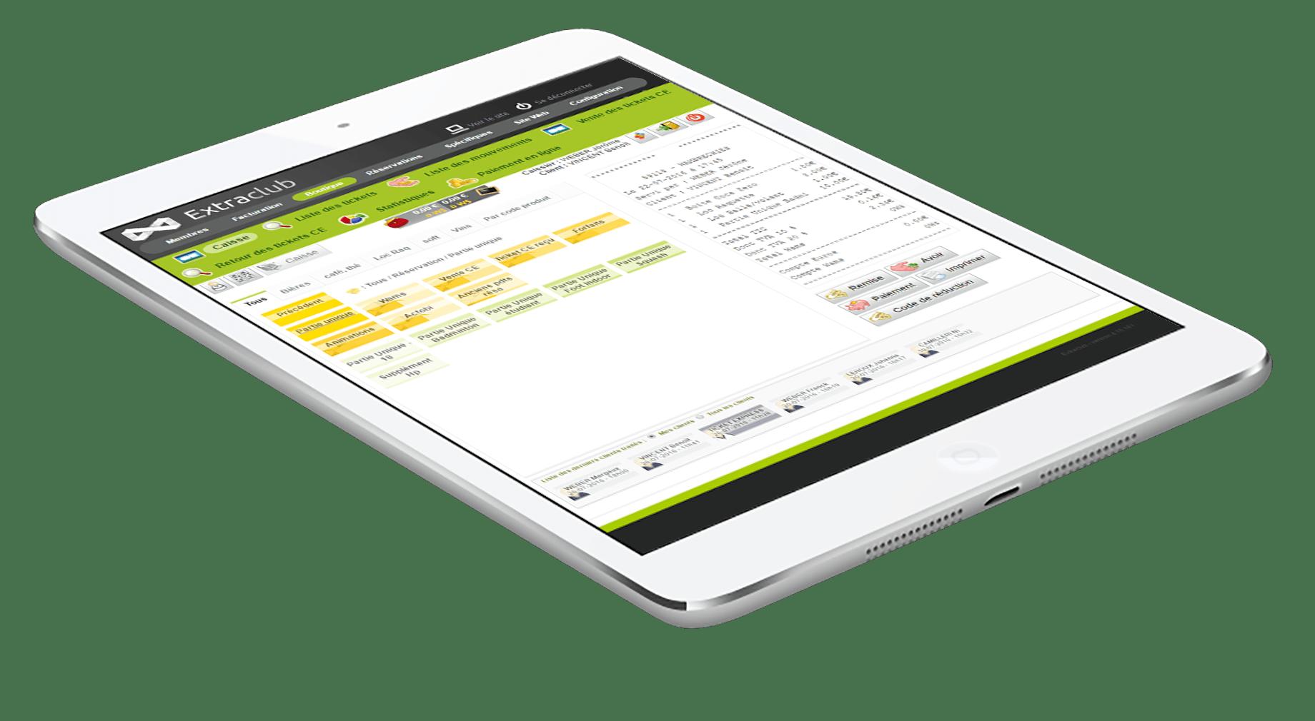 Découvrir ExtraClub le logiciel de gestion de club de sport du groupe StadLine - Module de caisse